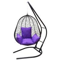 Подвесное кресло на стойке капри, черное/фиолетовая