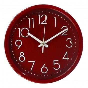 Часы настенные, серия: классика, джойс, красные, d=19.5 см