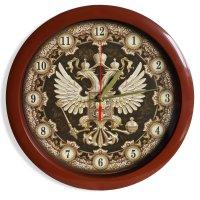 Часы герб настенные, коричневый обод, 28х28 см