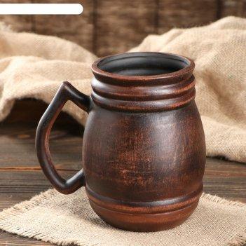 Кружка для пива бочка гладкая, красная глина, 1 л