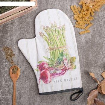 Варежка-прихватка vegetable 20х28см,саржа, 100% х/л, ватин 250г/м2