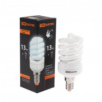 Лампа энергосберегающая tdm клл-fsт2 компакт, 13 вт, е14, 4000 к, 41 х 100