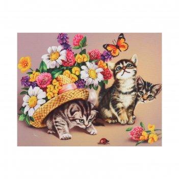 Принт для вышивки лентами на габардине «котята в цветах»