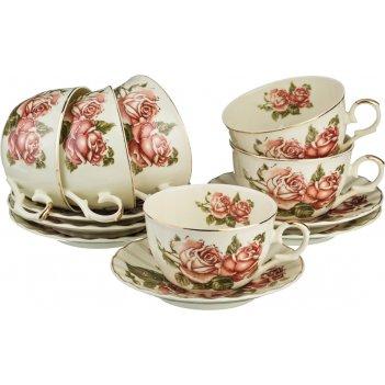 Чайный набор lefard корейская роза 12 пр. на 6 пер. 250 мл (кор=8набор.)
