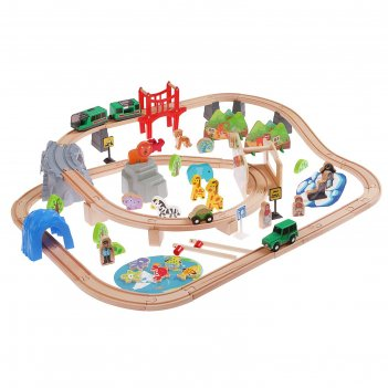 Железная дорога дорога со зверятами, поезд на батарейках