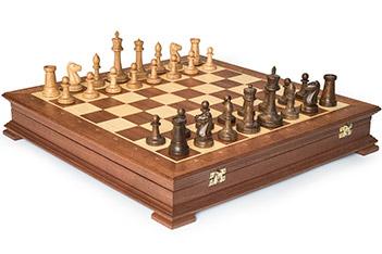 Шахматы стаунтон махагон, 44х44см