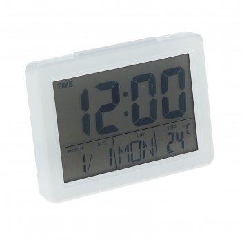 Часы-будильник luazon lb-17, led подсветка, дата, часы, температура, белые