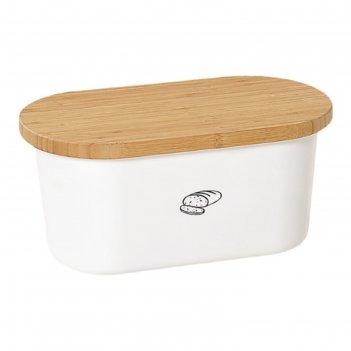 Хлебница с дерев.крышкой, доской для резки 39х18х23см, белая