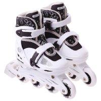 Роликовые коньки раздвижные, колеса pvc 64 мм, пластиковая рама, white/bla