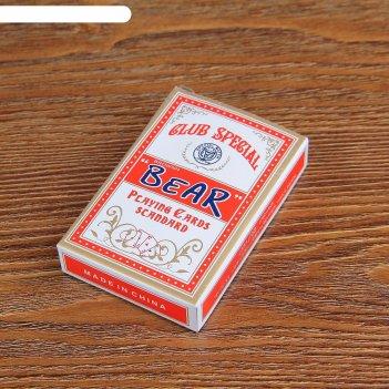 Карты игральные бумажные bear, 54 шт 55х85 мм, микс