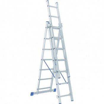Лестница, 3 х 7 ступеней, алюминиевая, трехсекционная сибртех pоссия