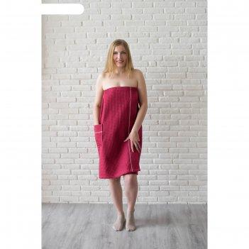 Парео женское, цвет бордовый, вафельное полотно 242 г/м2