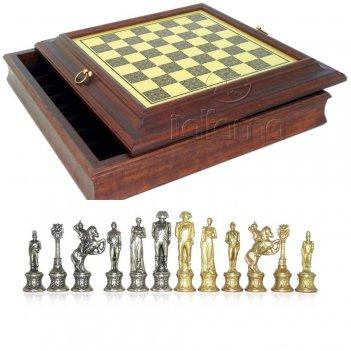 Шахматы наполеон от italfama 35х35 (красное дерево, металл, бронза, олово)