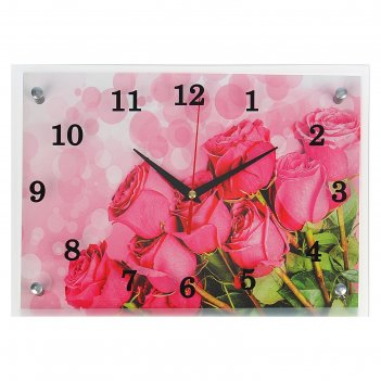 Часы настенные, серия: цветы, розовые розы, 25х35  см, микс