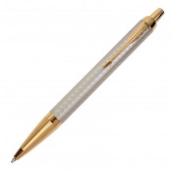 Ручка шариковая parker im premium grey gt m, корпус серый глянцевый/ золот