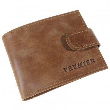 Кошелёк мужской на клапане, наружный карман, цвет коричневый