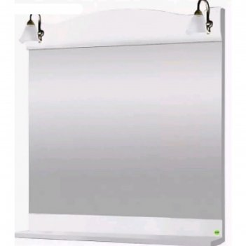 Зеркало с полкой и светильниками классика 600 ольха белая арт.12266