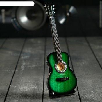 Гитара сувенирная акустическая зелёная, на подставке 24х8х2 см