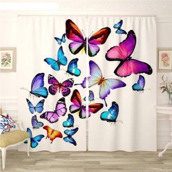 Фотошторы «яркие бабочки 4», размер 145 x 260 см, габардин