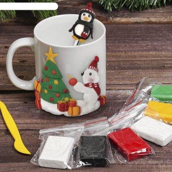 Кружка с ложкой для декора полимерной глиной мишка с пингвином