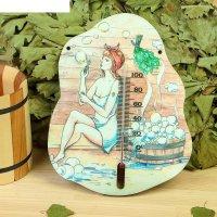 Деревянный термометр банный мульные пузыри  с уф печатью,