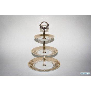 Горка лист бежевый 3х-ярусная тарелки:д 25, 19.5,  15, высота 23 см