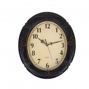 Часы настенные овальные old-fashioned, d=31 см, тёмно-коричневые, под мета