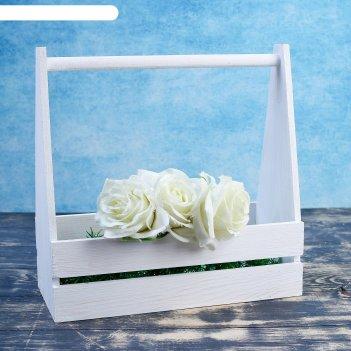 Ящик двухреечный с ручкой, белая кисть, 30x14x30 см