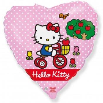 Шар фольгированный 18 сердце hello kitty. котенок на велосипеде розовый, 1