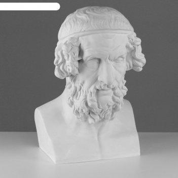 Гипсовая фигура, бюст гомера «мастерская экорше», 27,5х30х44 см