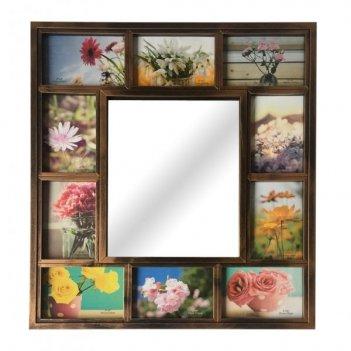 Фоторамка-панно для 10-ти фотографий с зеркалом, l86,5w50h1,...