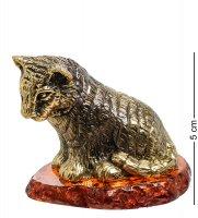 Am-1526 фигурка тигренок (латунь, янтарь)