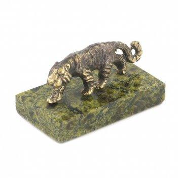 Статуэтка тигр бронза змеевик 50х25х25 мм 50 гр.