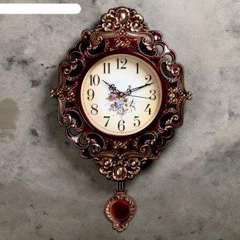 Часы настенные серия жанна с маятником, рама ажур коричневая, цветы на циф
