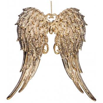 Декоративное изделие крылья ангела 15*11 см. цвет: античное золото без упа
