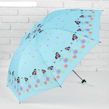 Зонт механический полянка, r=54см, цвет мятный