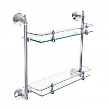 Полка для ванной 2х-ярусная с ограничителем, 35 см зеркальный блеск