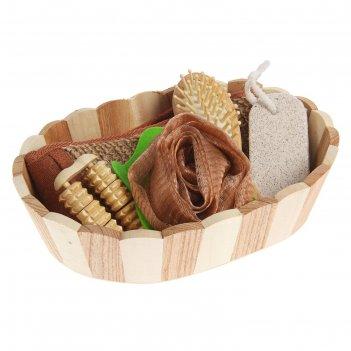 Набор банный 5 предметов: 2 мочалки, расческа, пемза, массажер