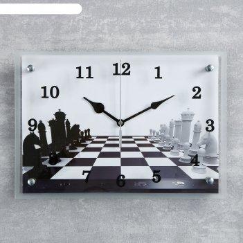 Часы настенные прямоугольные шахматная партия25х35см
