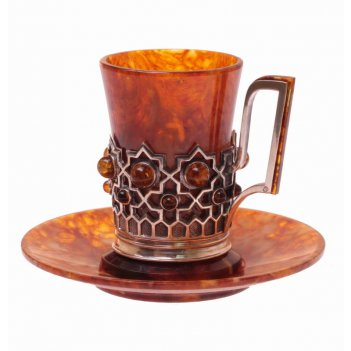 Кофейная чашечка визирь из янтаря и ювелирной бронзы