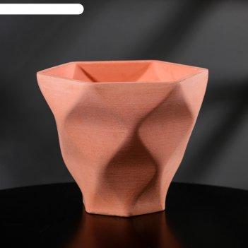 Кашпо-ромб розовое из бетона «фантазия», 15 х 14 см