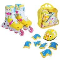 Набор ролики раздвижные+защита, пластиковая рама yellow/blue, р. 34-37