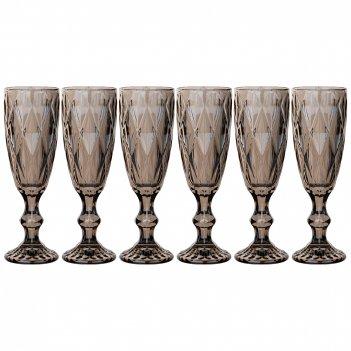 Набор бокалов для шампанского ромбо 6шт. 150мл. / в=20 см. серия muza ion