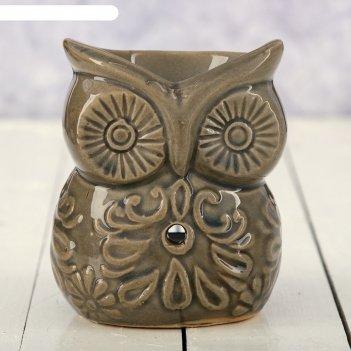 Аромалампа керамика узорная сова 9,5х7,5х6 см