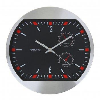 Часы настенные круглые с термометром и гирометром, черн циферблат с красны