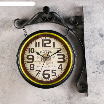 Часы настенные двойные, серия: садовые, шайо, d=24 см, 33х45 см