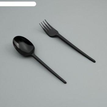Набор одноразовой посуды вилка, ложка черный цвет
