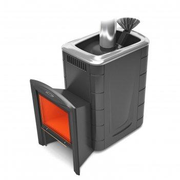 Печь для бани термофор гейзер супер inox, витра, закрытая каменка, антраци