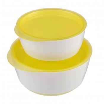 Миски детские с крышкой, набор 2 шт., 140 и 330 мл, цвет жёлтый