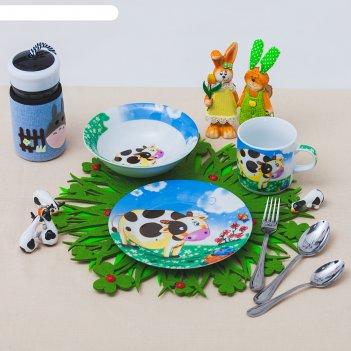 Набор детской посуды гаврюша, 3 предмета: кружка 230 мл, миска 400 мл, тар